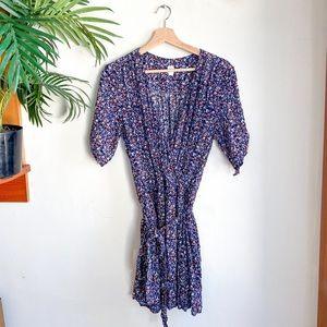 GAP Floral Short Sleeve Faux Wrap Mini Dress L